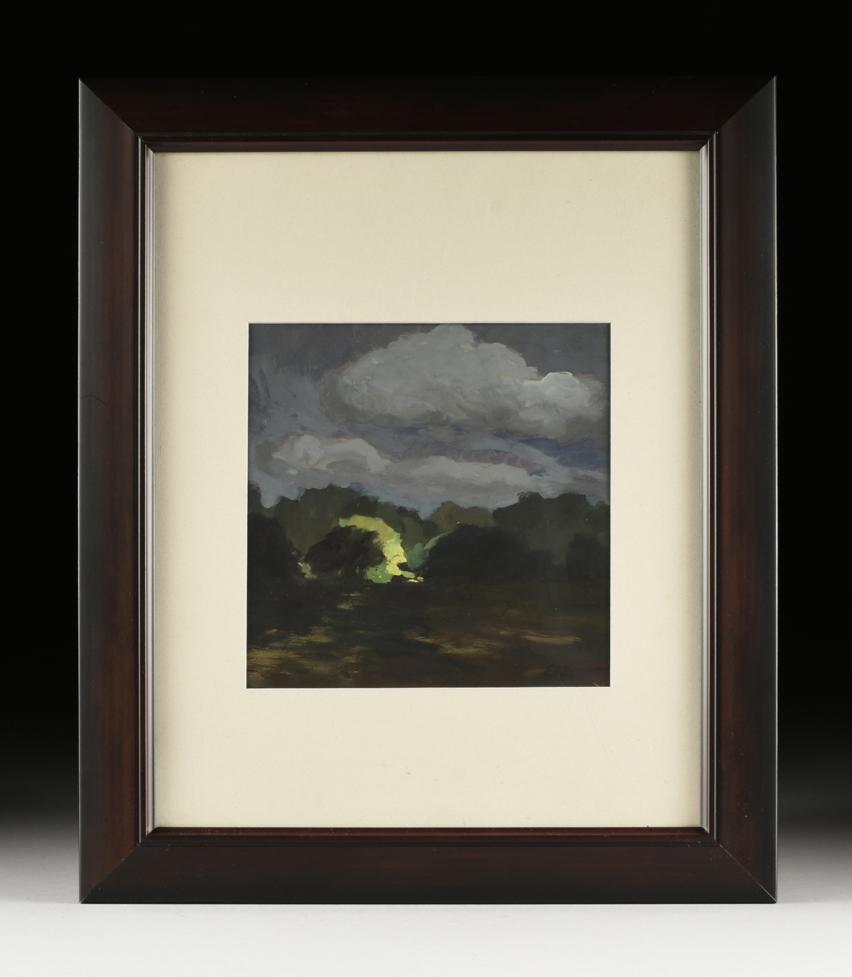"""Lot 17 - FRANK SIMON HERRMANN (AMERICAN 1866-1942), A PAINTING, """"Moonlit Clouds,"""" gouache on paper, signed"""