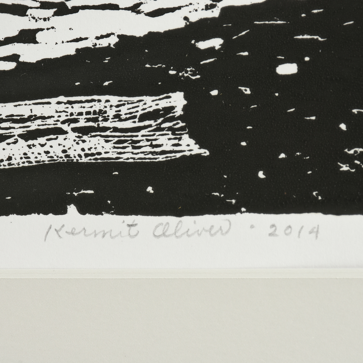 "Lot 56 - KERMIT OLIVER (American/Texas b. 1943) A WOODBLOCK PRINT, ""Jacob,"" 2014, ink on paper, signed L/R,"