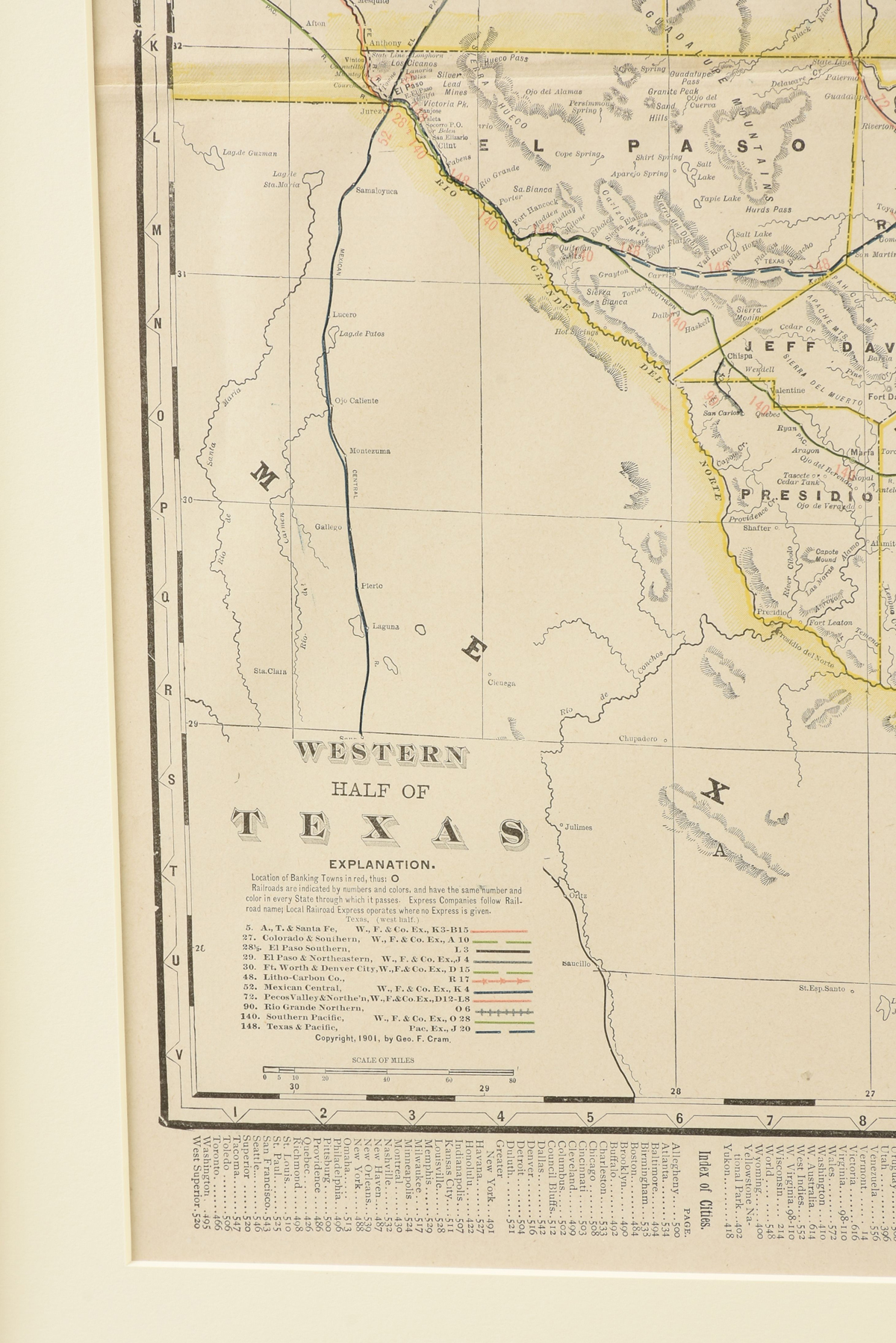 """Lot 31 - AN ANTIQUE MAP, """"Western Half of Texas,"""" CIRCA 1901, by George F. Cram, color engraving on paper,"""