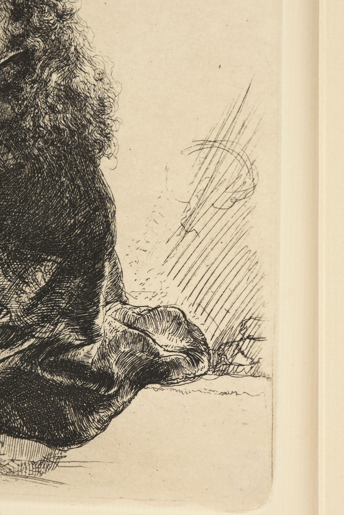 "Lot 4 - after REMBRANDT VAN RIJN (Dutch 1606-1669) A PRINT, ""Self Portrait Leaning on a Stone Sill,"""