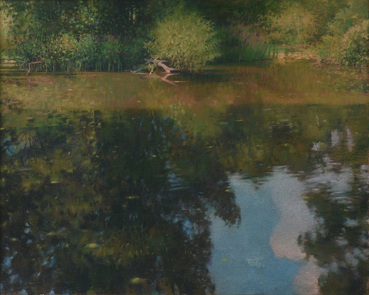 """Lot 10 - AMERICAN SCHOOL (20th Century) A DRAWING, """"Reflecting Pond,"""" pastel on pressed board, signed"""