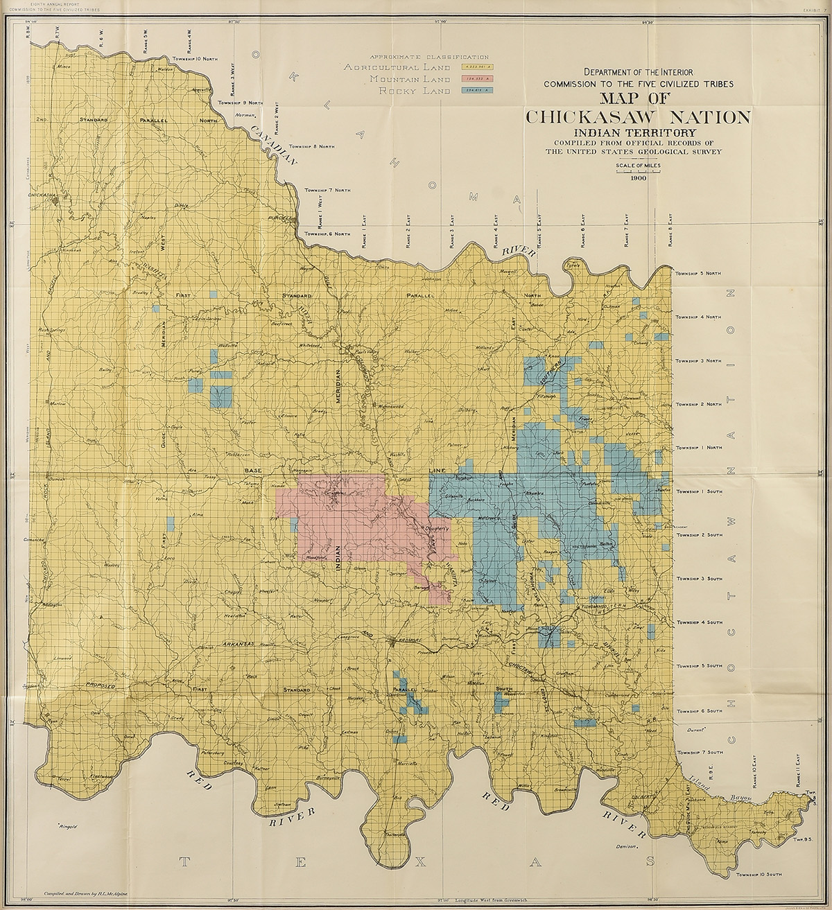"""Lot 15 - AN ANTIQUE MAP, """"Department of the Interior Commission to the Five Civilized Tribes, Map of the"""