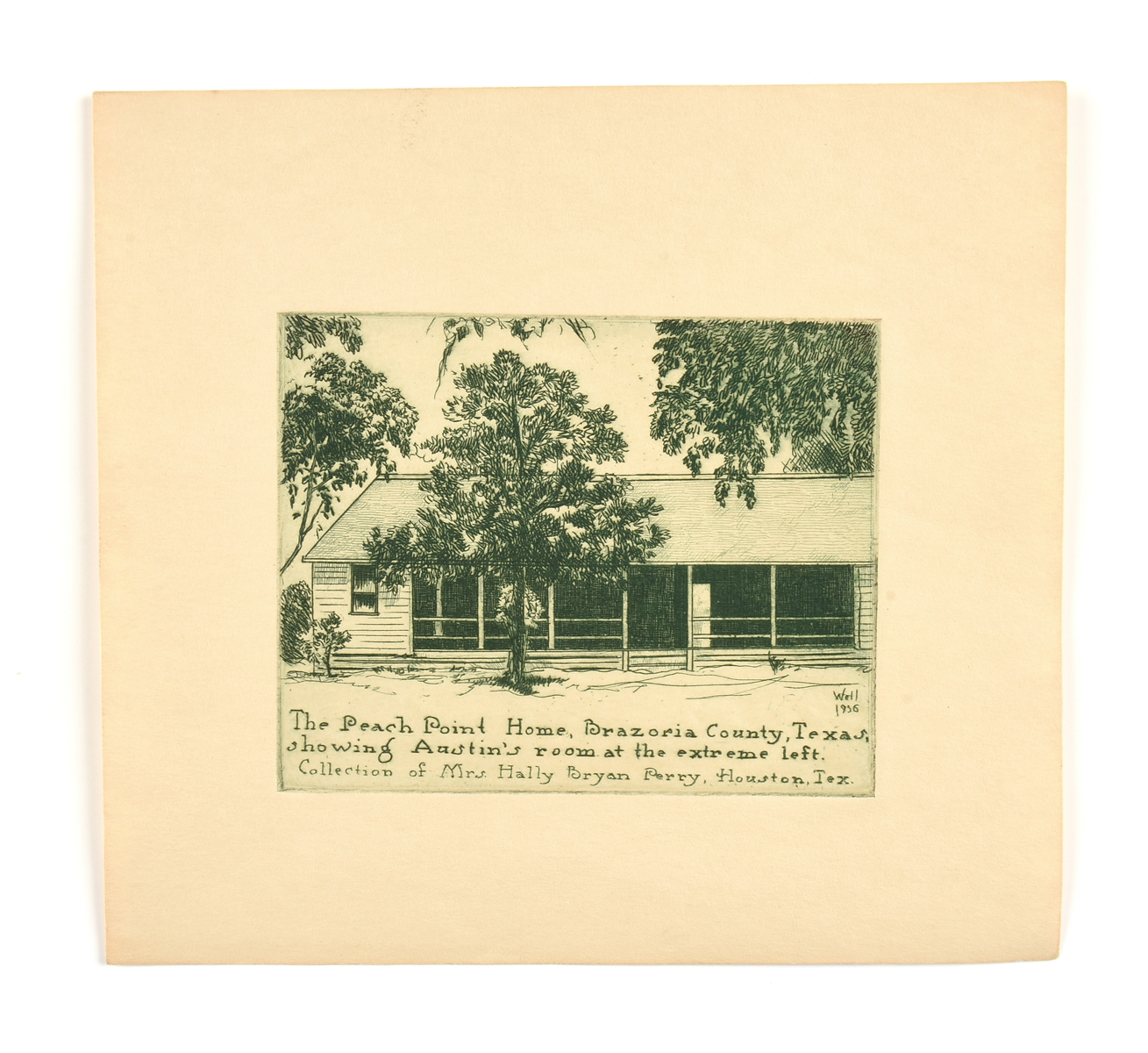 "Lot 2 - after BERNHARDT WALL (American 1872-1956) A PRINT, ""The Peach Point home, Brazoria County, Texas,"