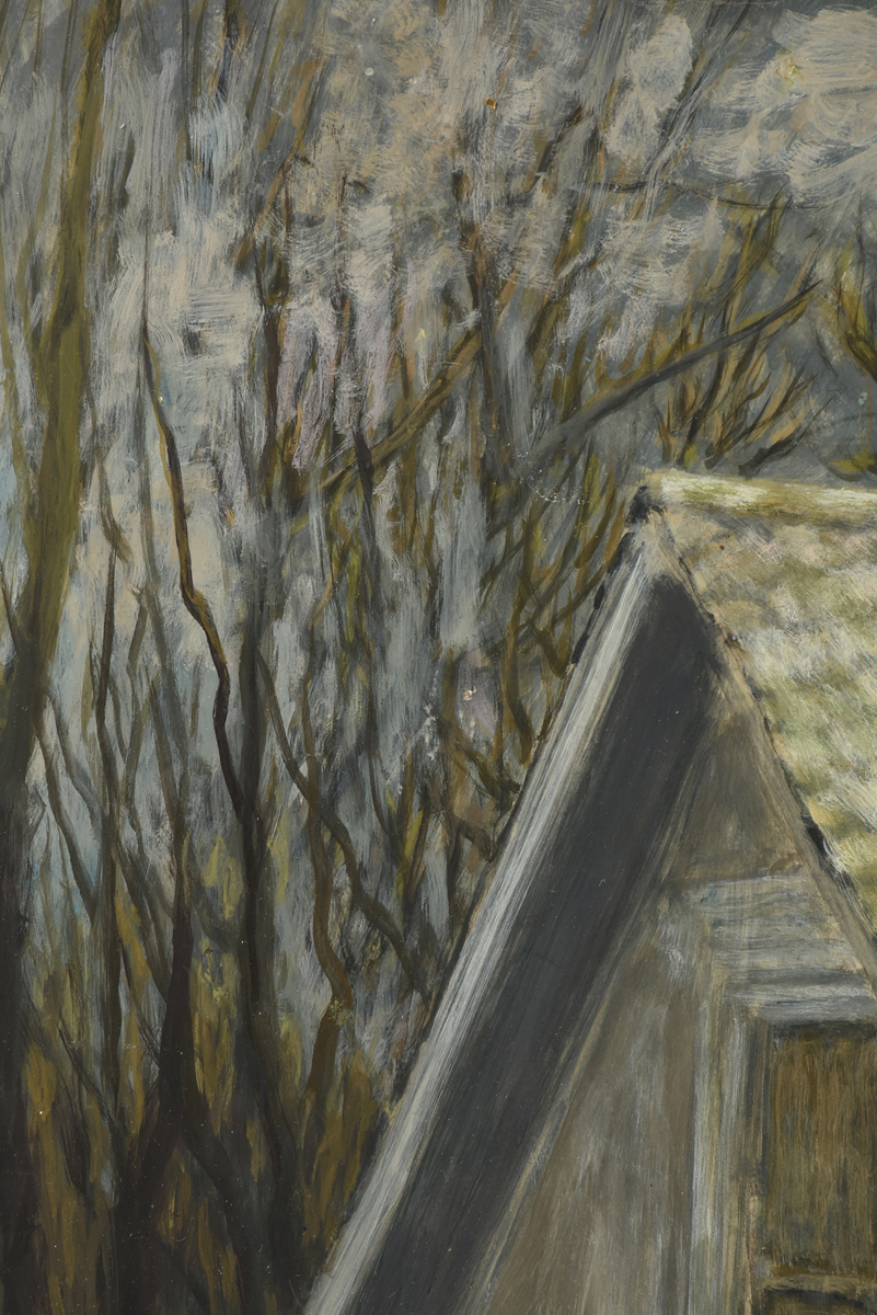 """Lot 40 - FRANK SIMON HERRMANN (AMERICAN 1866-1942), A WATERCOLOR, """"Rooftop in trees,"""" gouache on paper,"""