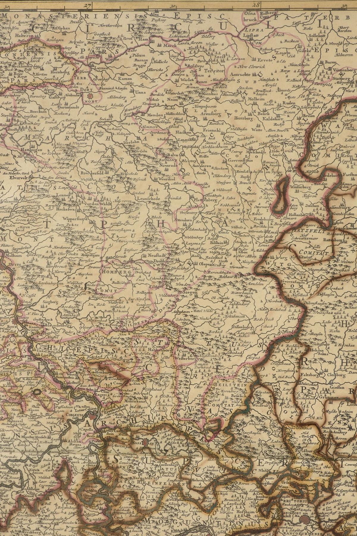 "Lot 3 - AN ANTIQUE MAP, ""Circulus Electorum Rheni Sive Rhenanus Inferior,"" AMSTERDAM, 17TH/18TH CENTURY,"