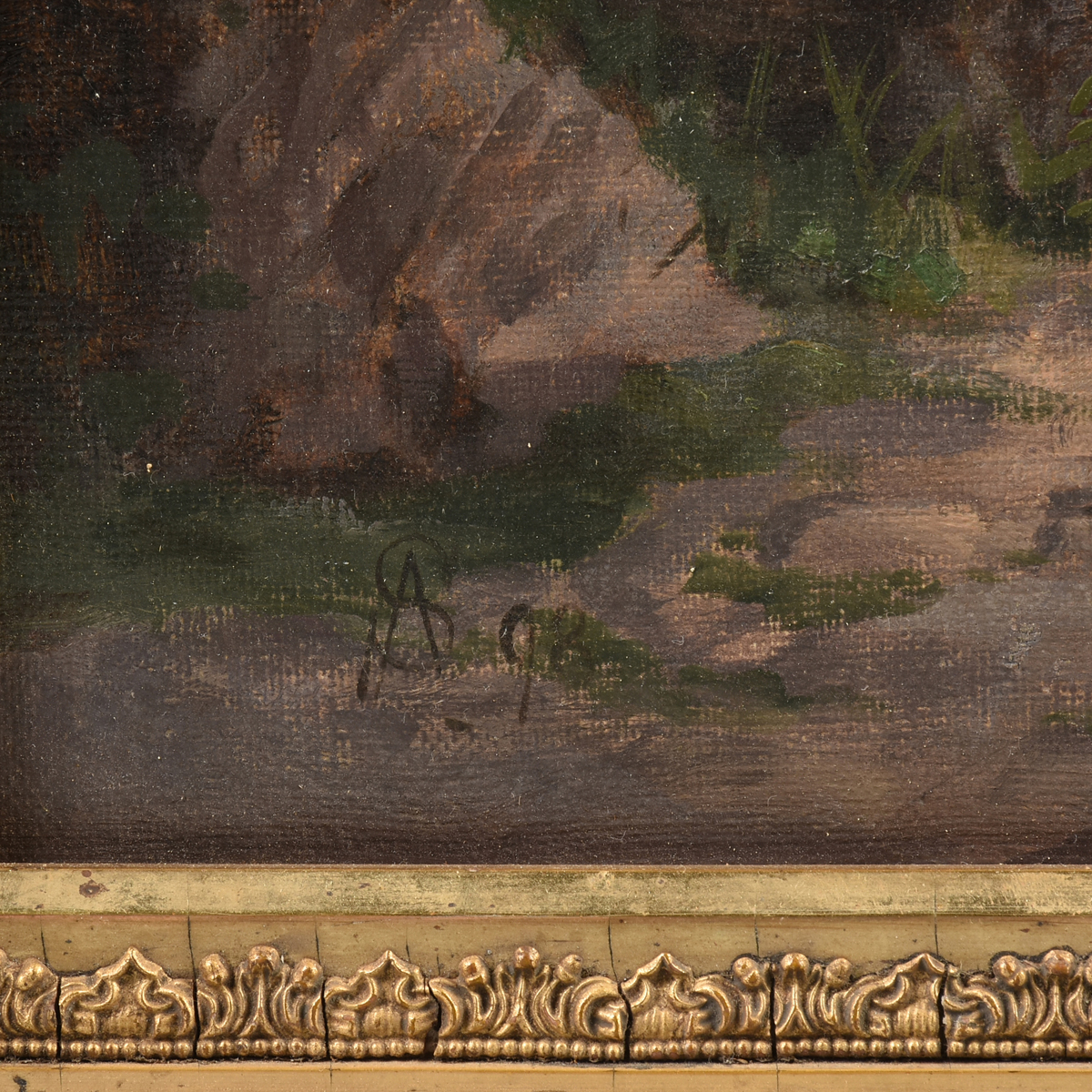 "Lot 47 - A HUDSON RIVER SCHOOL PAINTING, ""Figure with Goats in Andean Landscape,"" 19TH CENTURY, oil on"