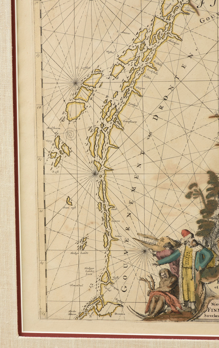 "Lot 58 - AN ANTIQUE FINLAND MAP, ""Finmarchiæ et Laplandiæ,"" 17TH/18TH CENTURY, hand colored ink engraving"