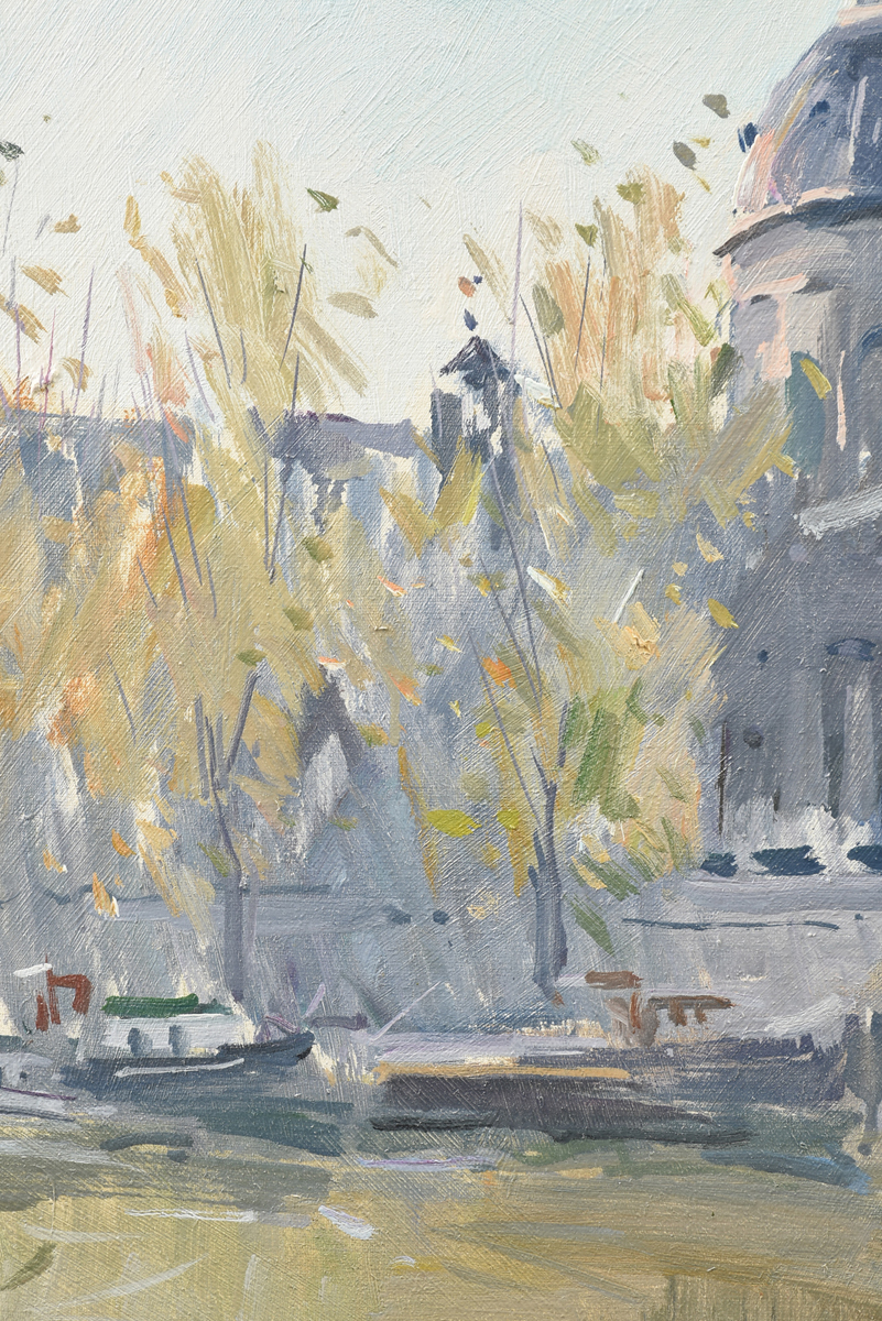 """Lot 51 - CONTINENTAL SCHOOL (20th Century) A PAINTING, """"Neoclassical Architecture with Boulevard Bridge,"""" oil"""