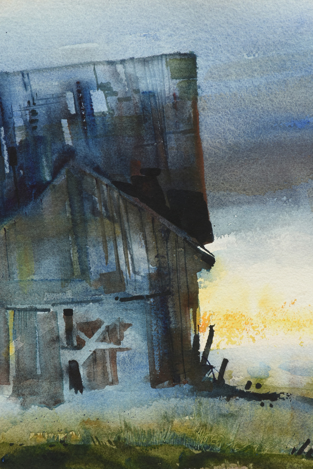 """Lot 18 - DAVID ACUFF (American b. 1973) A PAINTING, """"Old Barn,"""" watercolor on paper, signed L/R. 21 1/2"""" x"""