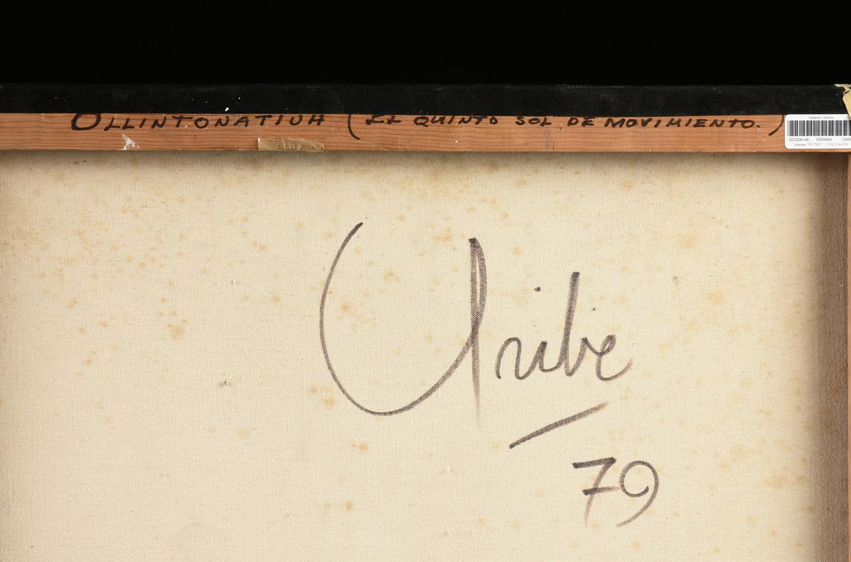 """Lot 46 - ALEJANDRO URIBE (Mexican 20th Century) A PAINTING, """"Ollintonatiuh (El Quinto Sol De Movimiento),"""""""
