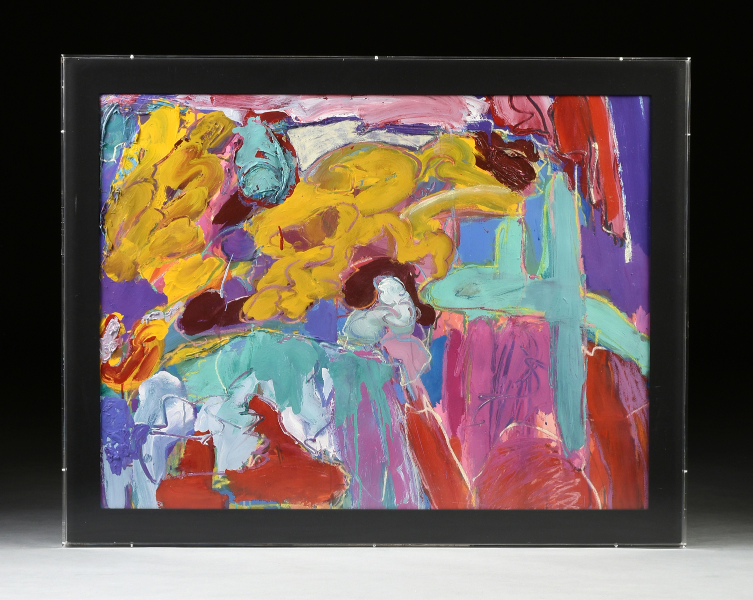 "Lot 39 - AMERICAN SCHOOL (20th Century) A PAINTING, ""Teal Four,"" in the abstract expressionist style, oil"