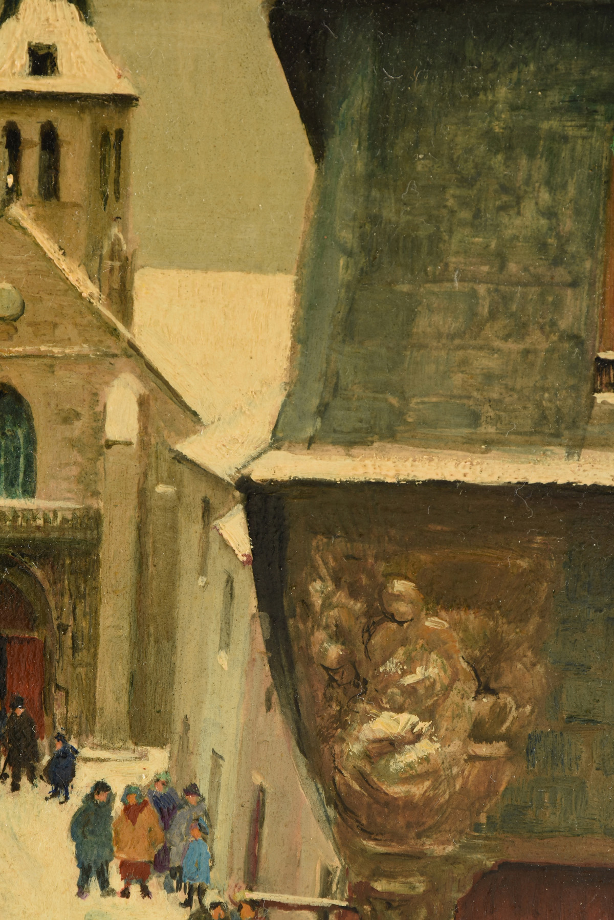 """Lot 33 - PAUL LEMASSON (French 1897-1971) A PAINTING, """"Leaving Church,"""" oil on board, signed L/R. 10"""" x 8"""""""