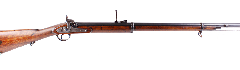 Lot 666 - (S58) .577 Enfield 1861 Pattern rifle, 33 ins two band barrel stamped J Kerr, blade and ramp sights,