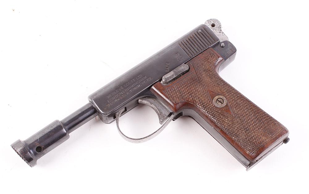 Lot 894 - (S5-SF39) 7.62mm (.32) Webley & Scott semi automatic humane dispatch pistol, multi shot magazine,