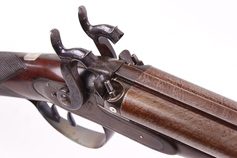 Lot 704 - (S58) 18 bore Percussion double sporting gun by Westley Richards, c.1836, 30 ins brown damascus