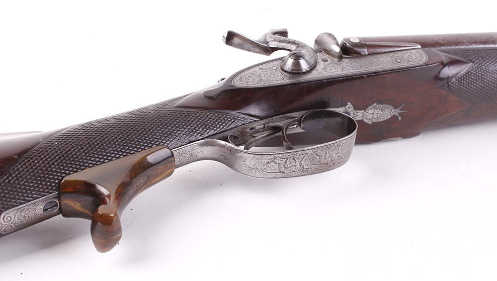 Lot 702 - (S58) 8 bore Percussion double sporting gun by Chas Lancaster, 30 ins damascus barrels, the rib