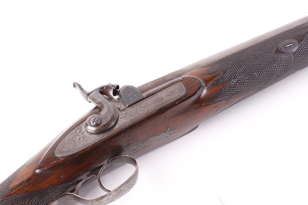 Lot 701 - (S58) 6 bore Percussion single sporting gun by Bentley & Playfair, 36 ins brown damascus tapered