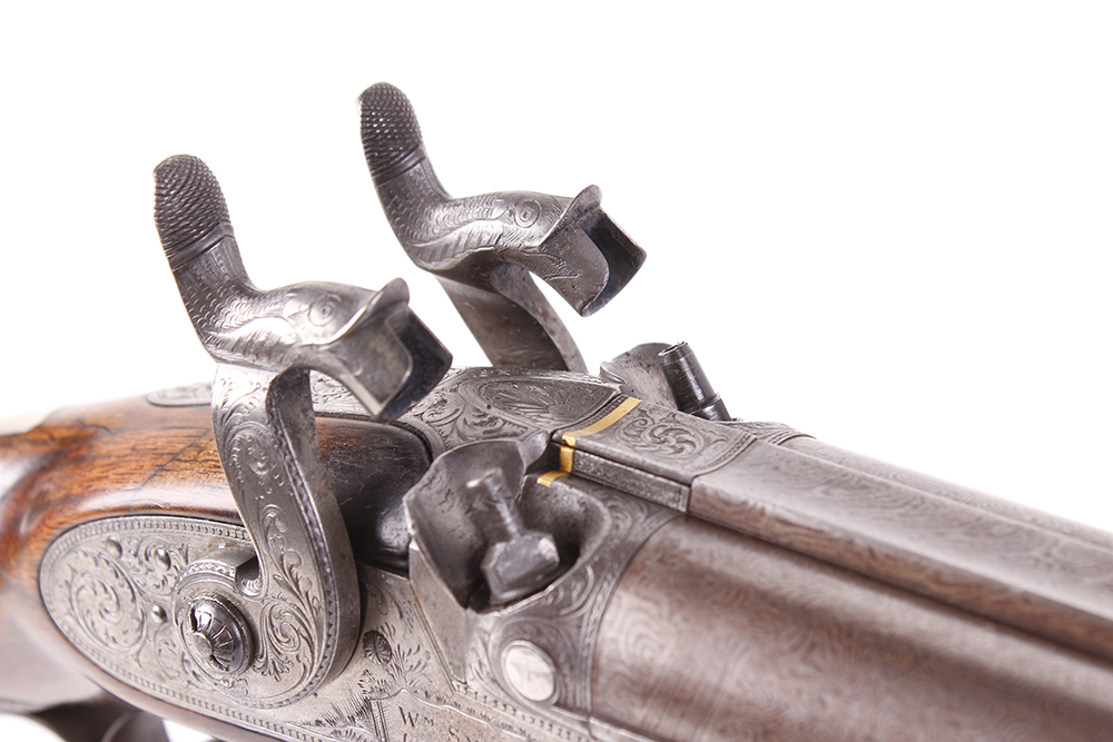 Lot 700 - (S58) 16 bore Percussion double sporting gun by Wm Smith, 28½ ins fine scroll damascus barrels