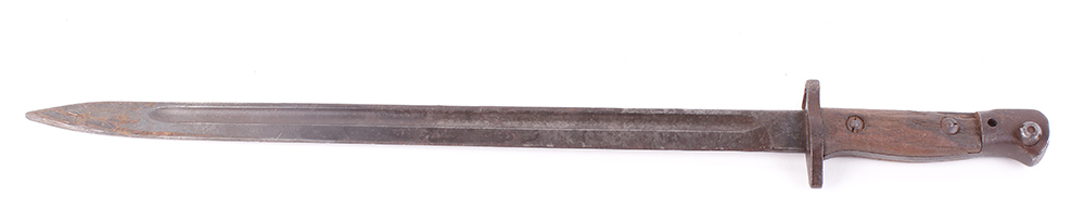 Lot 576 - Enfield P1907 bayonet, 16 ins blade with broad arrow and other stamps, metal studded wood grips