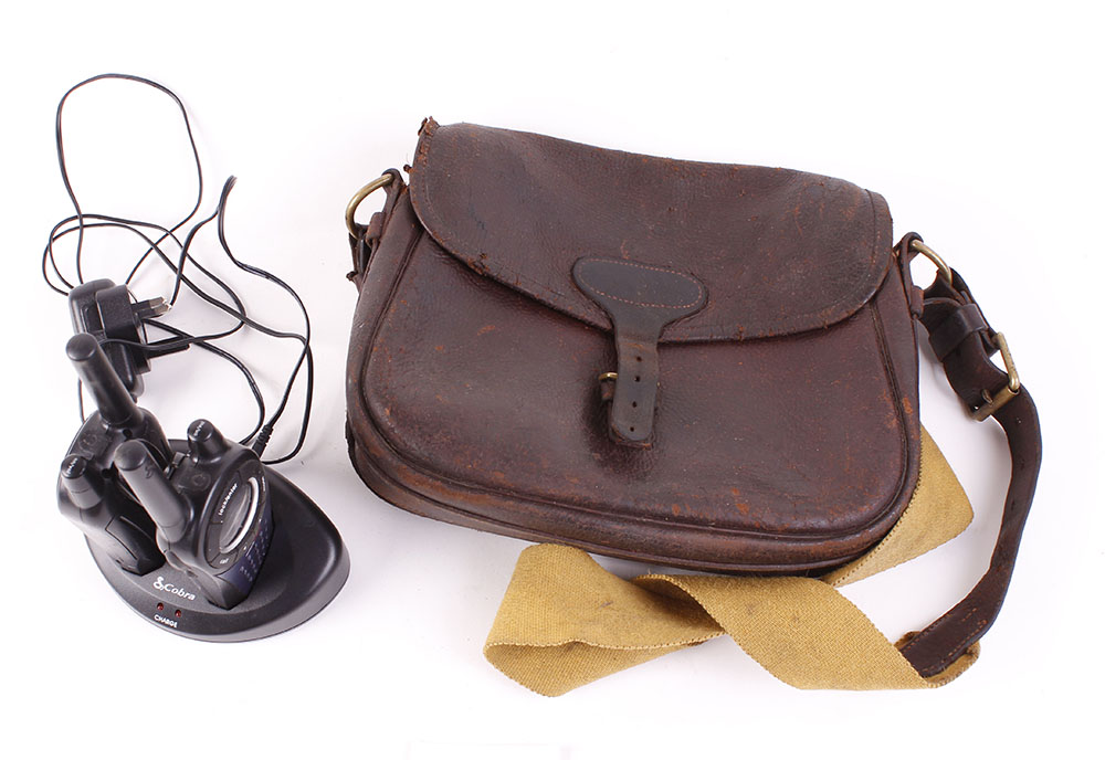 Lot 39 - Vintage leather cartridge bag with pair of Cobra walkie talkies and charging base