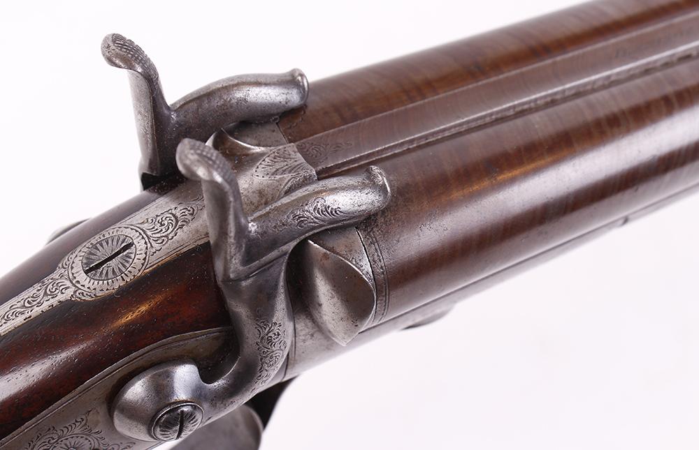 Lot 693 - (S58) 12 bore pinfire double sporting gun by Jennings, Spalding, 30 ins brown damascus twist barrels