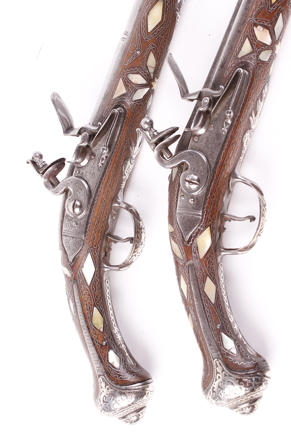 Lot 625 - (S58) Pair of 18 bore Spanish holster pistols with 11 ins full stocked two stage barrel, engraved