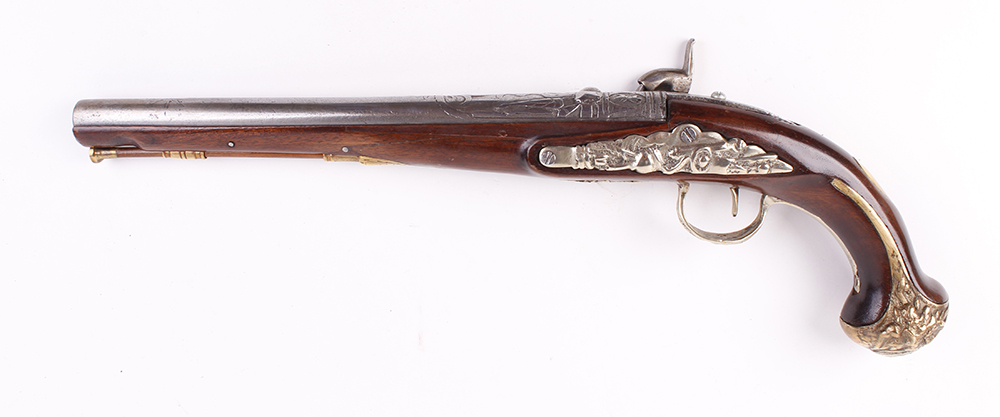 Lot 629 - (S58) 18 bore Continental percussion ( converted from flintlock) holster pistol, 12 ins swamped