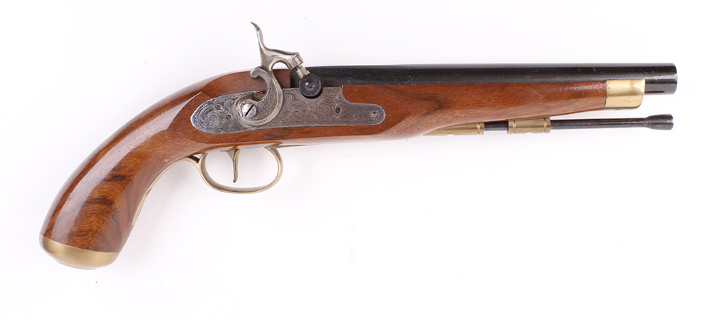 Lot 887 - (S1) .45 Dikar percussion black powder pistol with 9 ins two stage barrel, metal ramrod, engraved