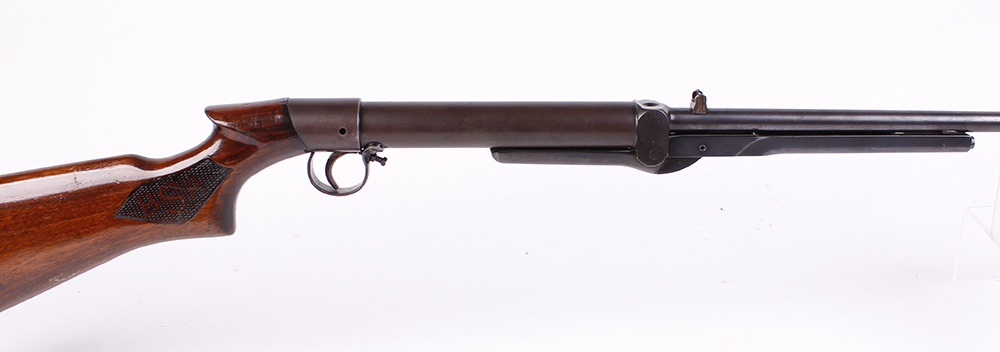 Lot 303 - .22 BSA Standard No.1 Model underlever air rifle, open sights, tap loading, chequered panels