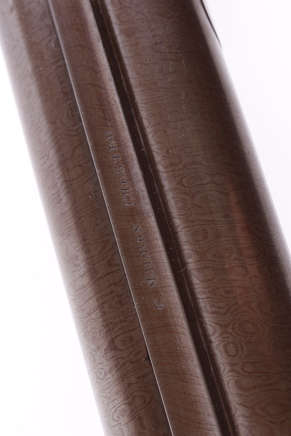 Lot 703 - (S58) 8 bore Percussion by C Malbon, 33 ins brown damascus barrels with broad rib stamped C Malbon