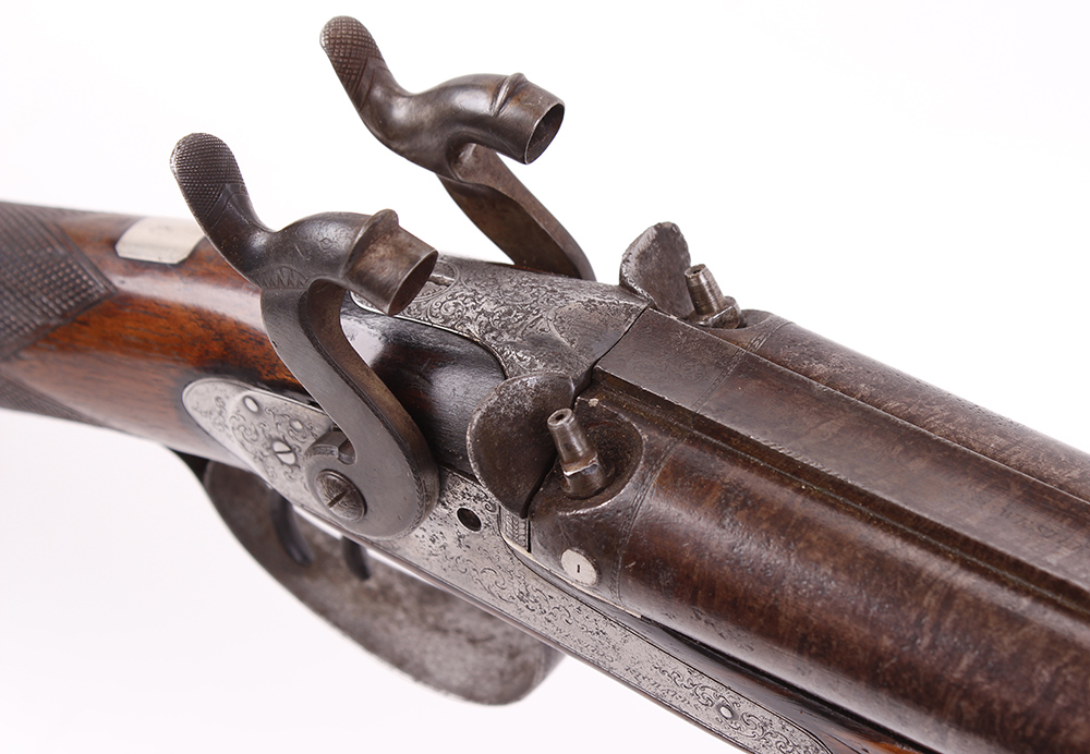 Lot 705 - (S58) 12 bore percussion double sporting gun by Westley Richards, 29½ ins damascus barrels, platinum