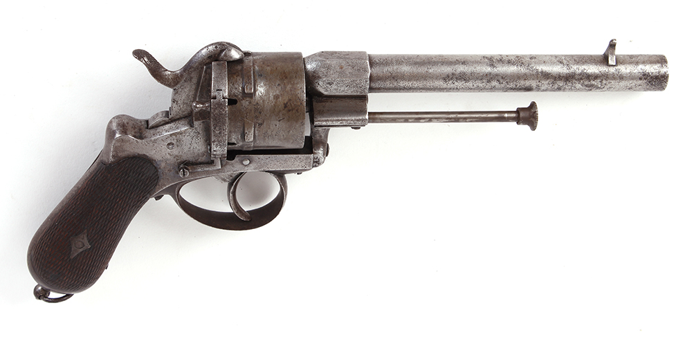 Lot 613 - (S58) 11mm French pinfire revolver, 6¼ ins round barrel stamped Lefaucheux Brevette, 6 shot plain