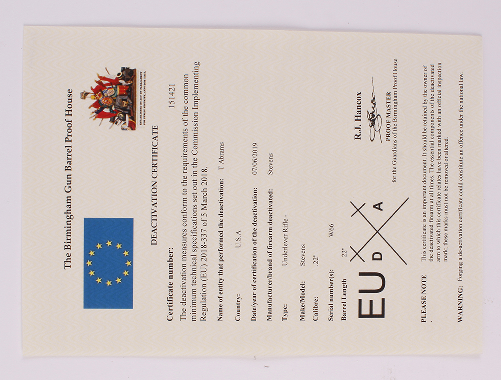 Lot 719 - .22 Stevens underlever falling block rifle, no. W66 - Deactivated with EU certificate (2019)