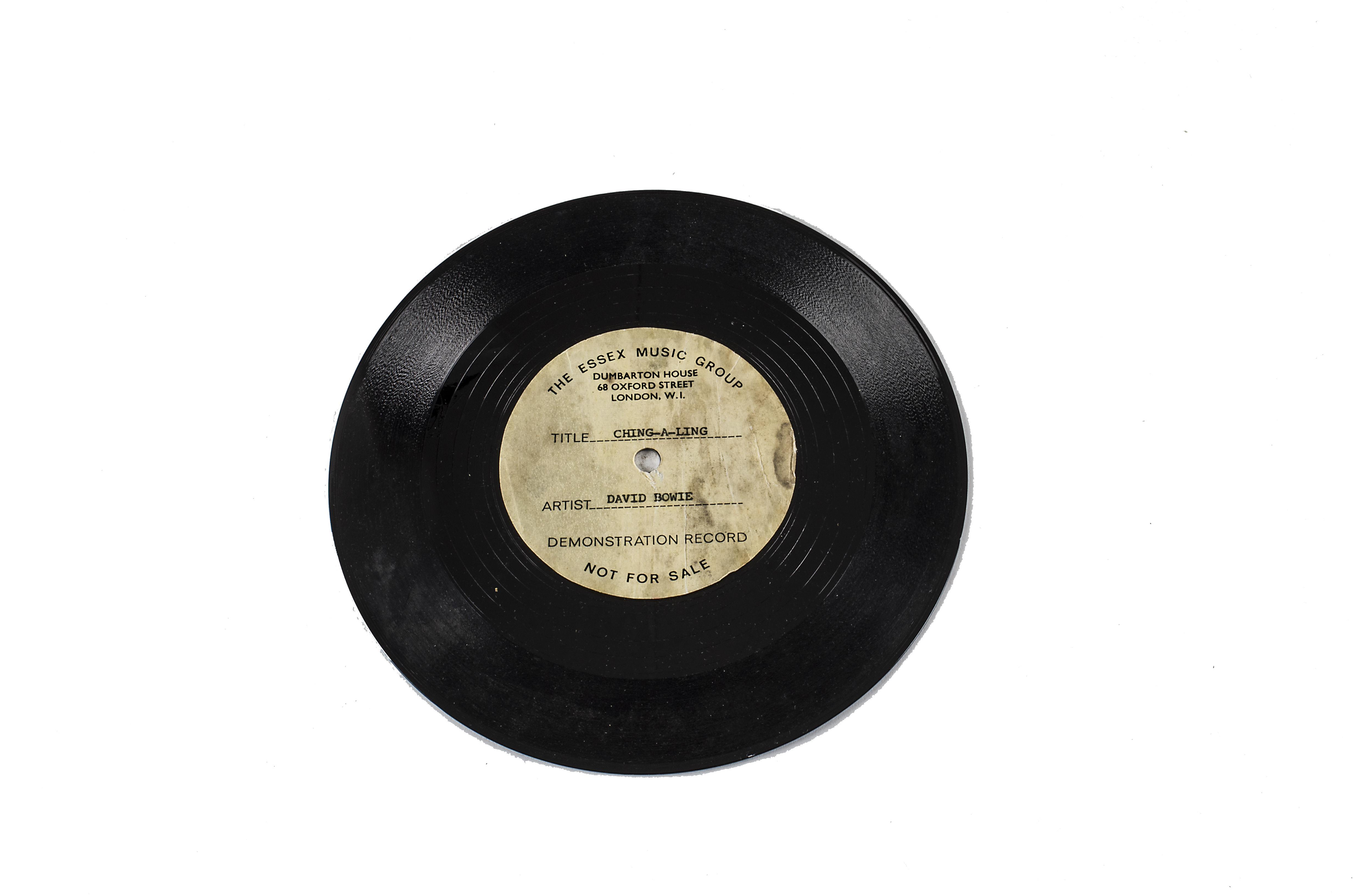"""Lot 228 - David Bowie Acetate, Ching-A-Ling - One-Sided UK 7"""" Acetate - In 1968 David Bowie formed a short"""