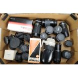 Lot 7 - A Tray of SLR Zoom and Prime Lenses, including a Canon EF 70-200mm f/2.8L Ultrasonic with lens