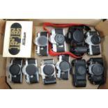 Lot 5 - A Tray of SLR Bodies, including a Nikon FE and box, a Canon EOS 10, a Canon T50, a Minolta SR-7,