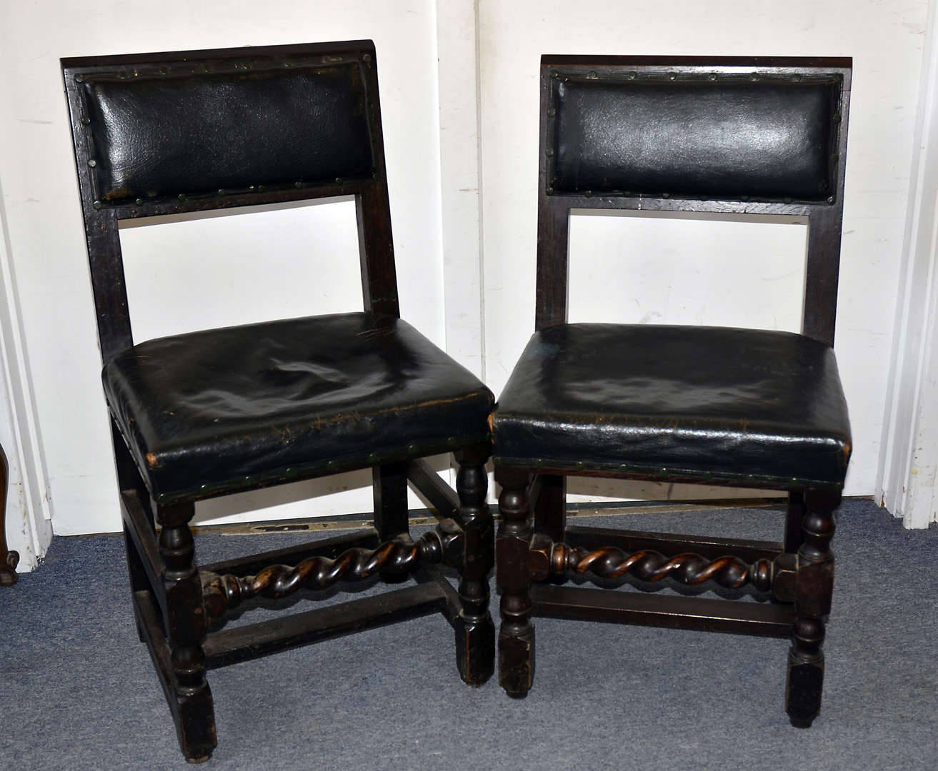 Lot 305 - Of Winston Churchill interest, A set of four dining chairs used by Churchill and General Dwight