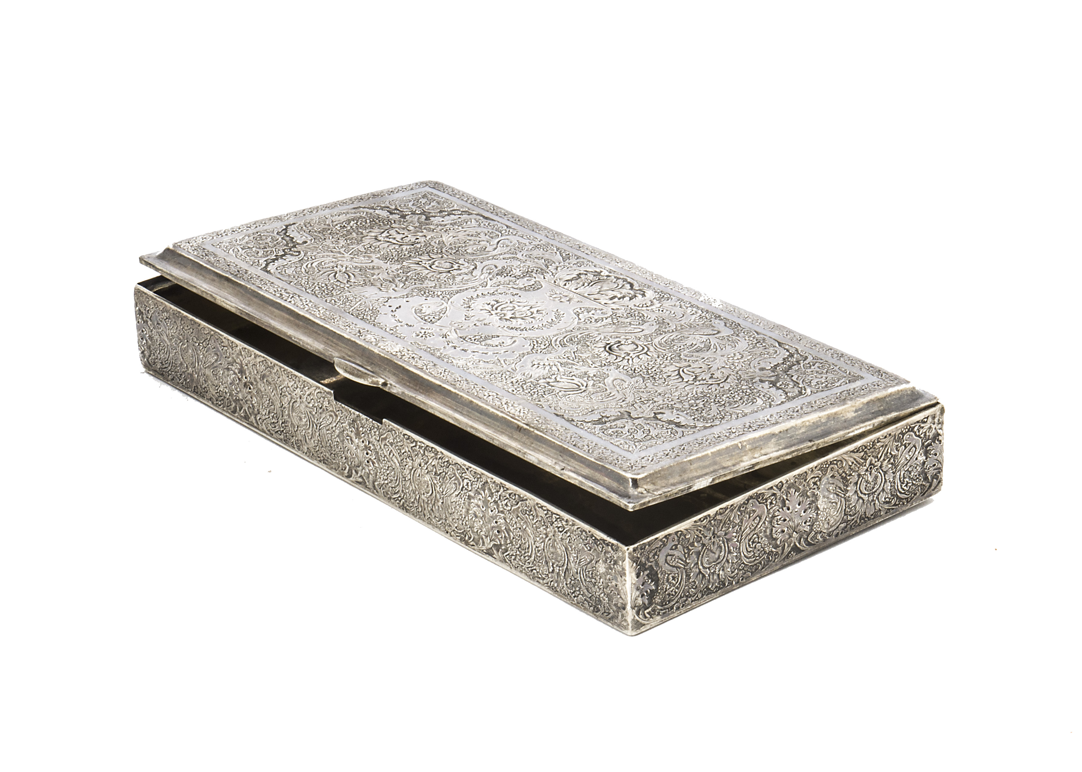 Lot 45 - A vintage Persian silver box, rectangular having ornate engraved designs to lid and sides, 16cm