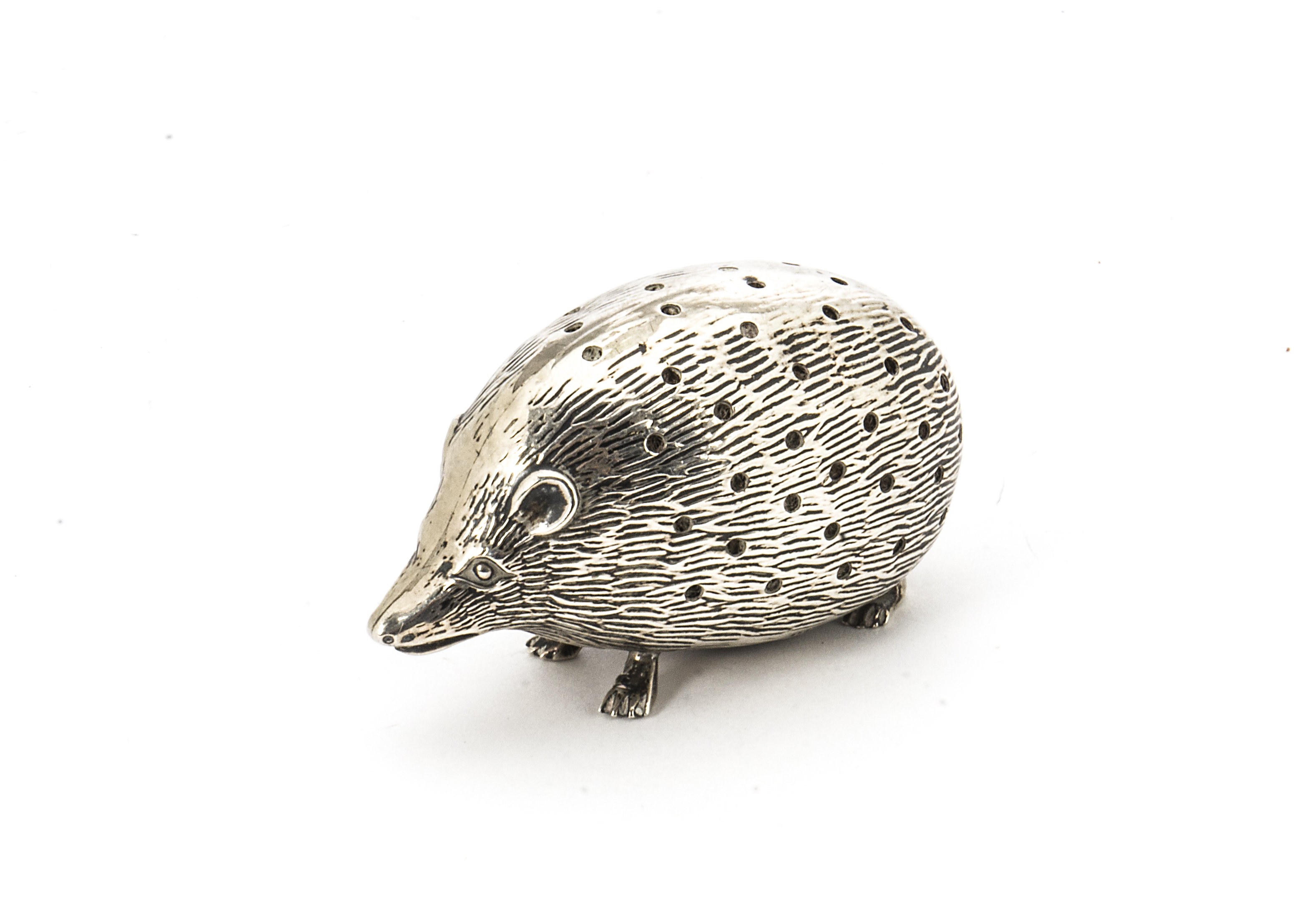 Lot 39 - An Edwardian silver novelty pin cushion by L&S, modelled as a hedgehog, Birmingham 1907