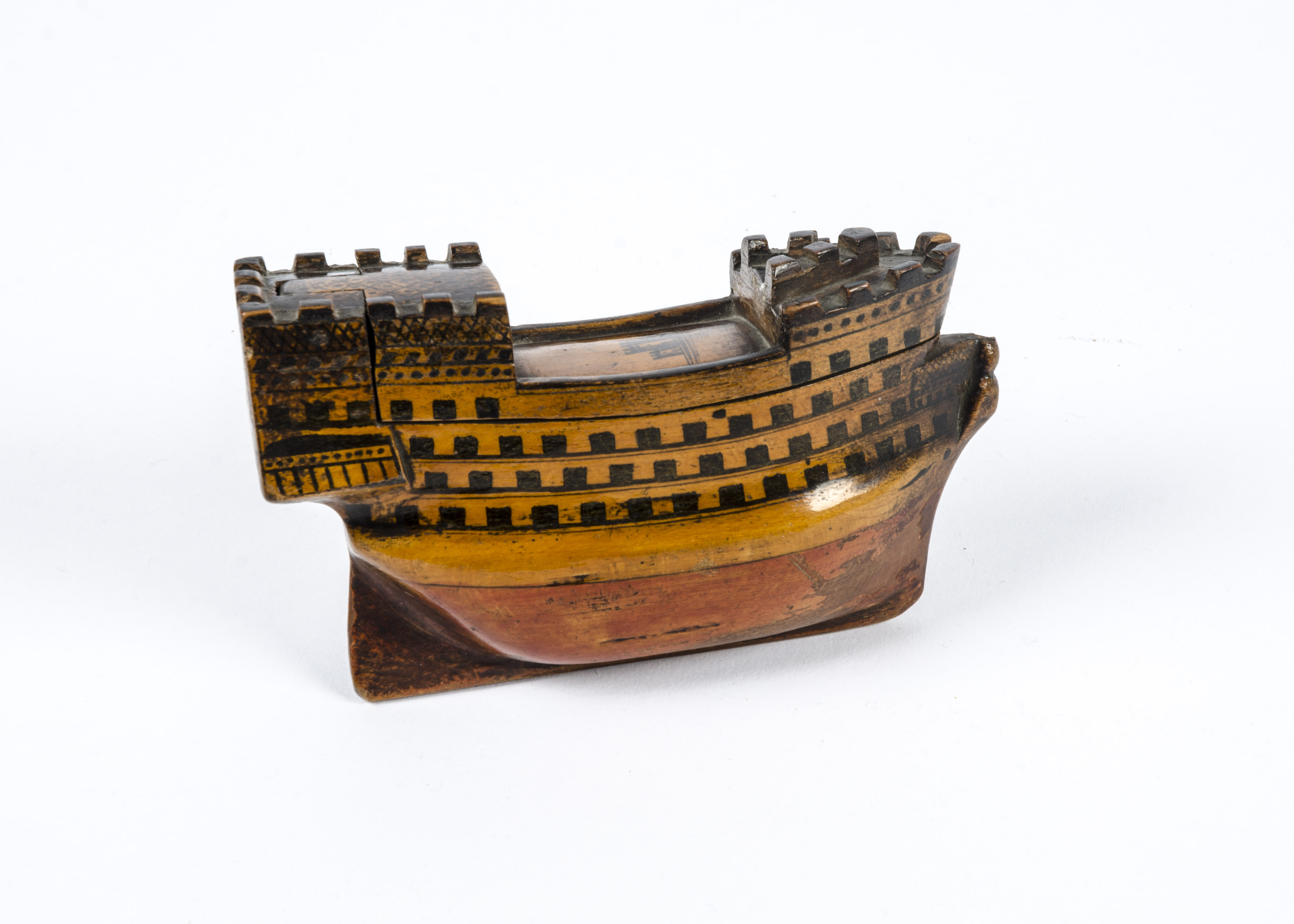 Lot 84 - An interesting 18th Century folk art treen carving of a ship, with a historic note tucked inside ""