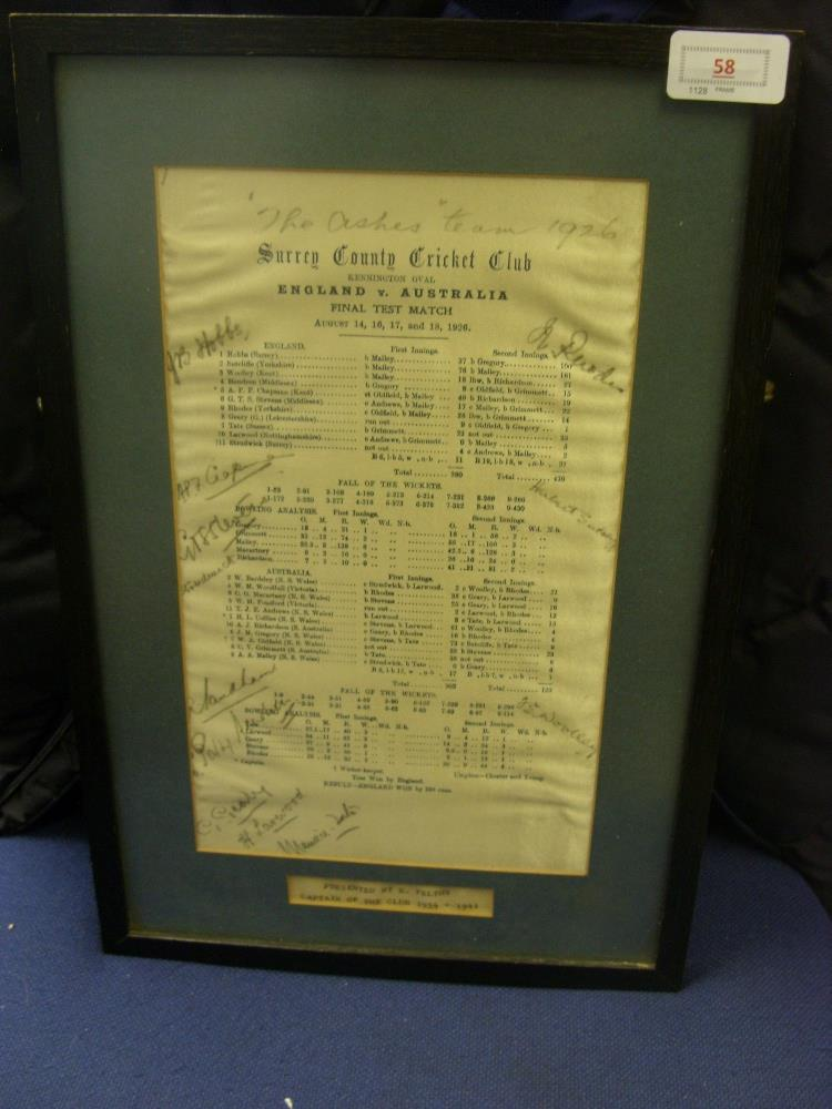 Lot 58 - Cricket, 1926, an autographed silk scorecard, England v Australia, from the game played at the