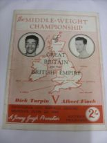 Lot 50 - 1949 Boxing, Dick Turpin v Albert Finch, a programme from the Middle Wight Championship Of Great
