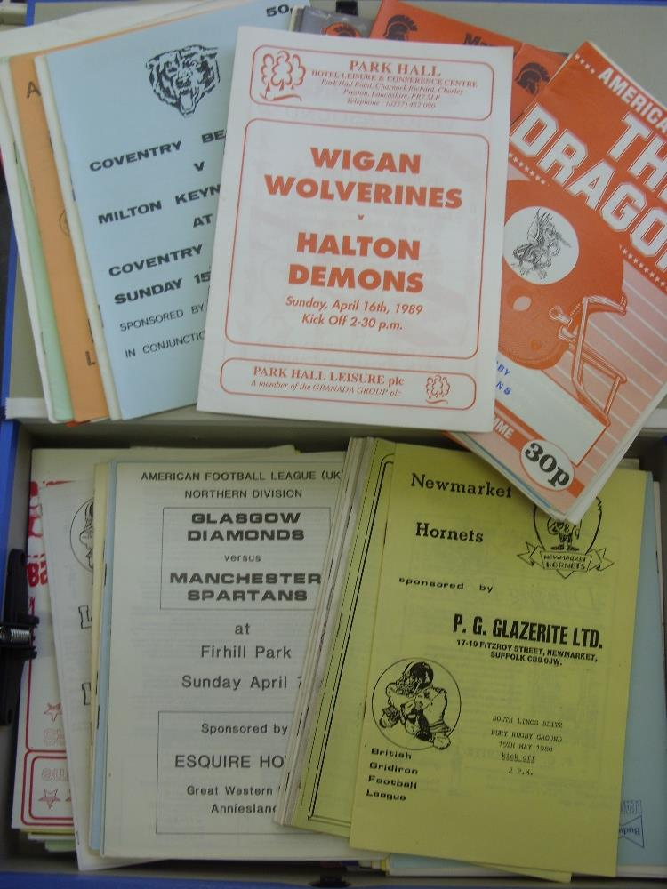 Lot 43 - American Football, a collection of over 100 programmes, for games played in the United Kingdom,