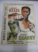 Lot 52 - Boxing, Jimmy Ellis v Jerry Quarry, a very rare programme from the Heavyweight Title Fight, held