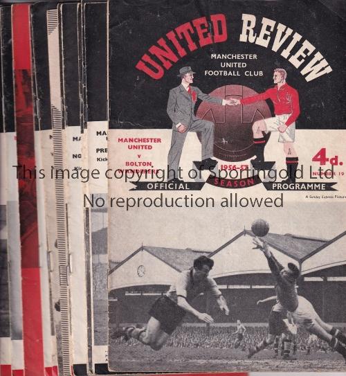 Lot 1429 - MAN UTD 57 Thirteen Manchester Utd home programmes 56/7 v Bolton, 7 x 57/8, v Wolves, Nottm