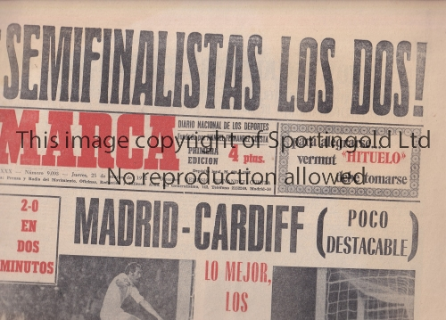 Lot 1323 - REAL MADRID V CARDIFF CITY 1971 Marca newspaper 25/3/1971 with many reports and pictures of the