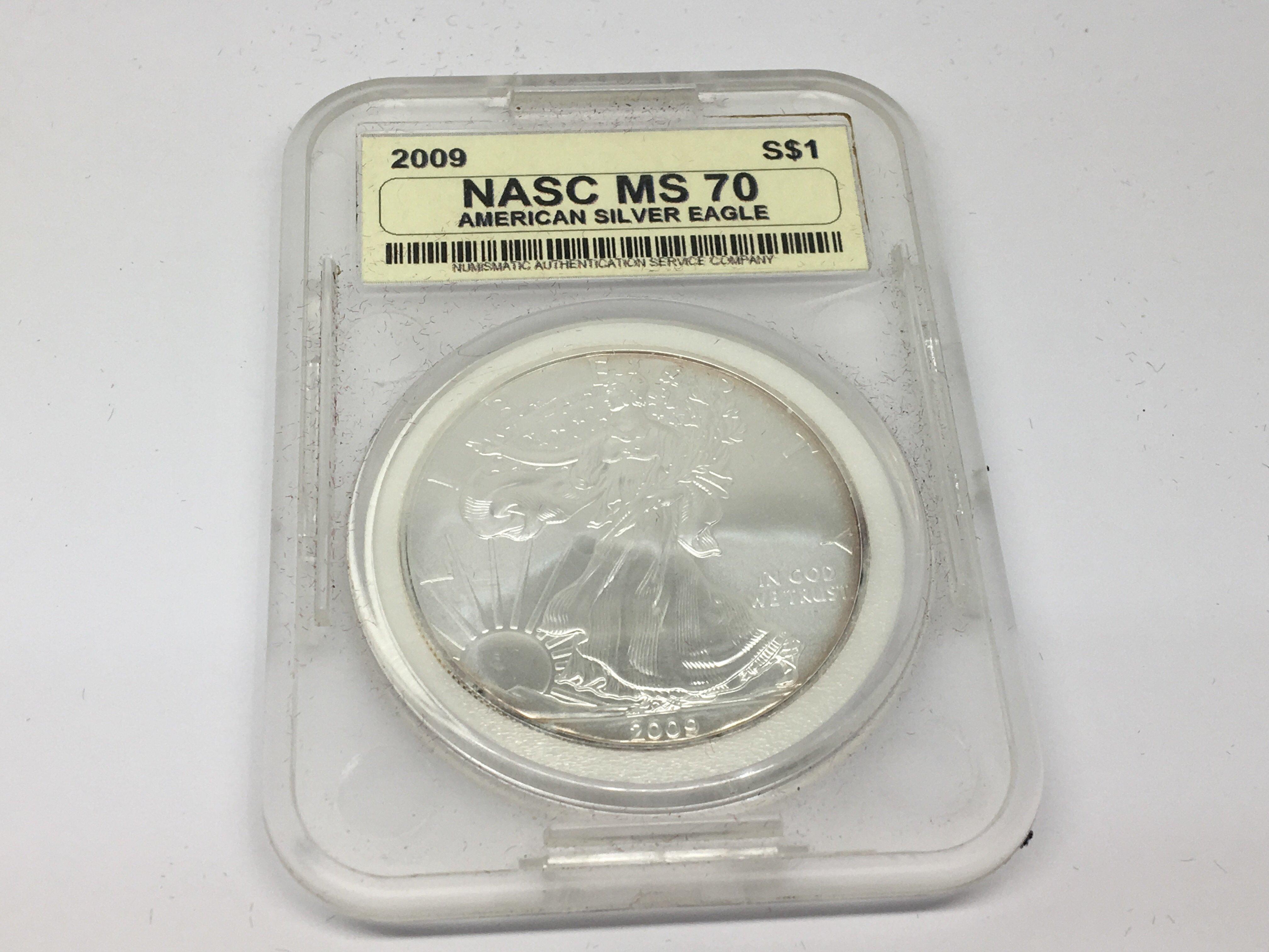 Lot 115 - A Silver 2009 MS70 American silver (9.99%) dollar