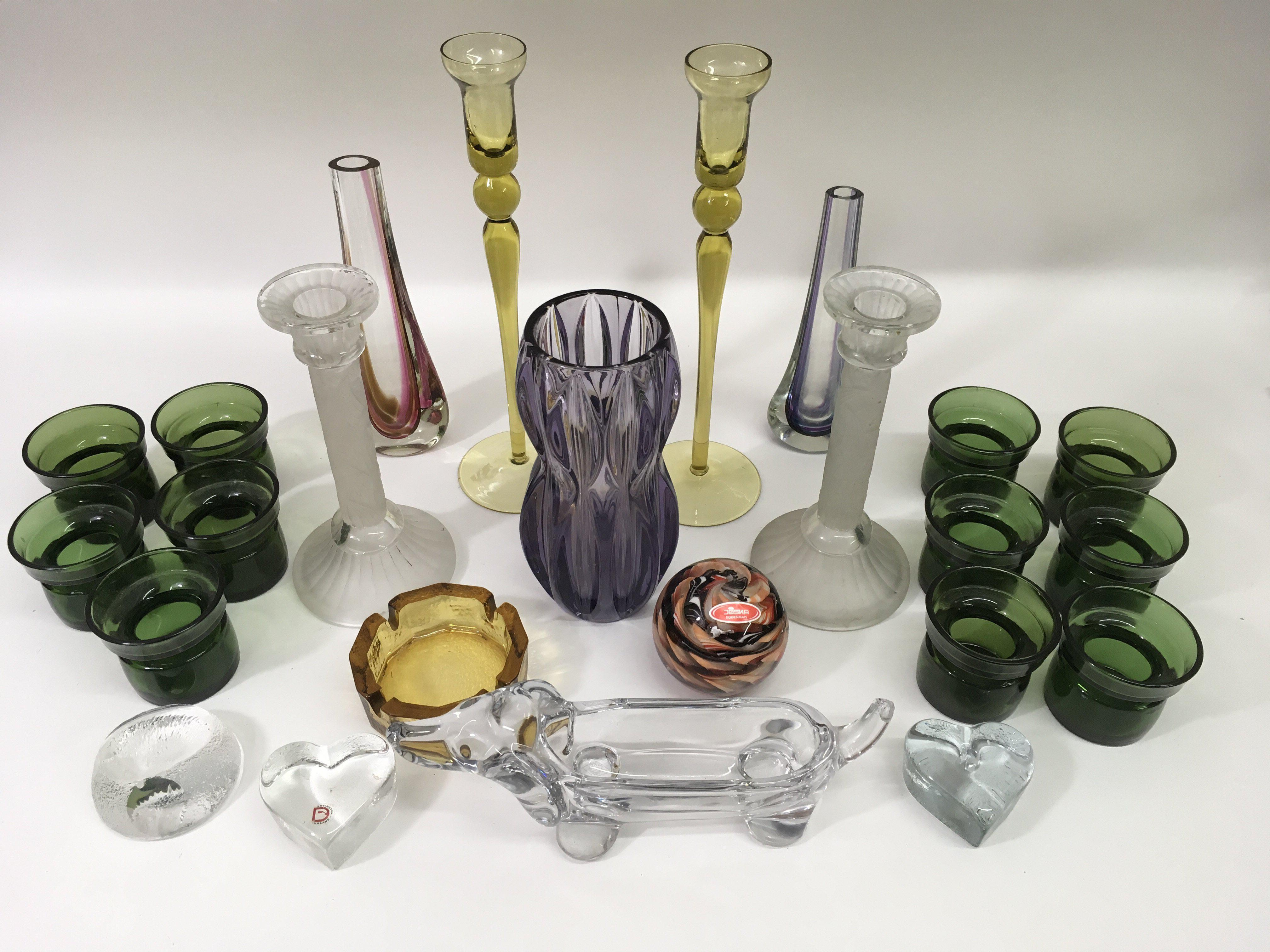 Lot 758 - A collection of art glass including a Czech vase,