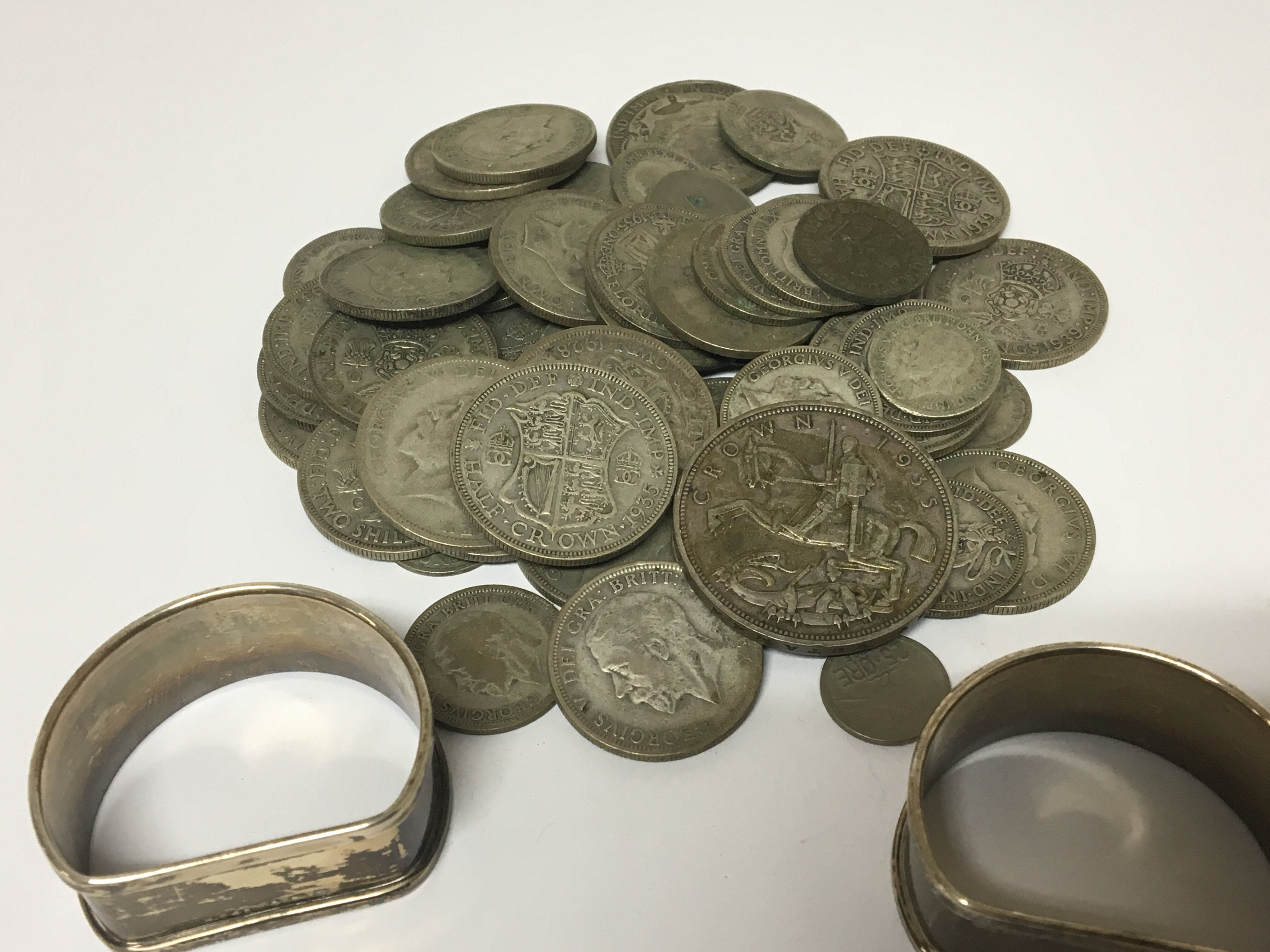 Lot 599 - A collection of used circulated pre 1946 British Coinage and two silver napkin rings.