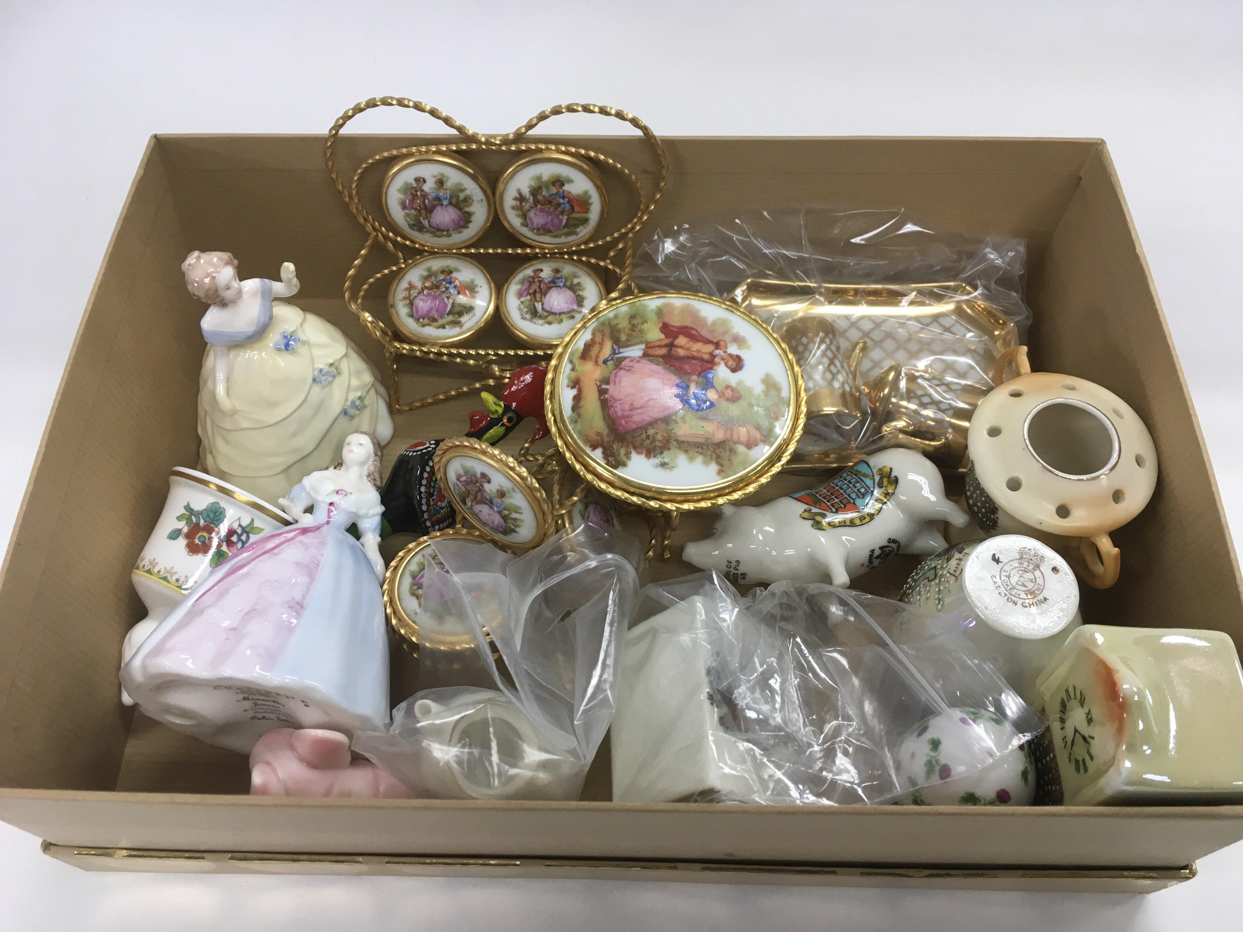 Lot 765 - A box of small ceramic items including Coalport la